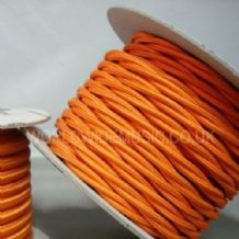 TWIST 2 Core Braided Fabric Cable Lighting Lamp Flex Vintage - MATT ORANGE